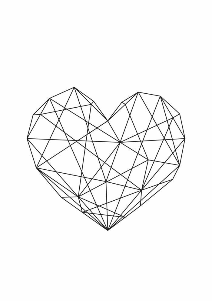 tirer-une-ligne-dessin-avec-des-formes-géométriques-coeur